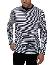 Men's Stretch Striped Long Sleeve Henley T-Shirt