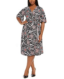 Plus Size Floral-Print Wrap Dress
