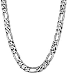 "Figaro Link 24"" Chain Necklace in Sterling Silver"