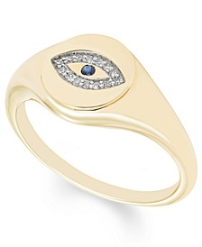 Diamond (1/20 ct. t.w.) Evil Eye Signet Ring in 14k Yellow or Rose Gold