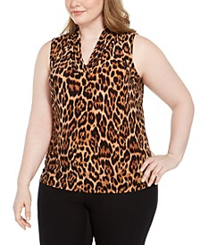 Plus Size Sleeveless Leopard Print Top