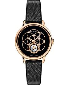 Women's Swiss Seed Of Life Diamond (1/20 ct. t.w.) Black Leather Strap Watch 36mm