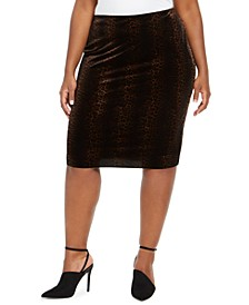 Plus Size Velvet Animal-Print Pencil Skirt