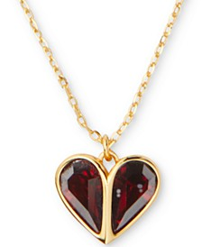 "Crystal Heart Pendant Necklace, 17"" + 3"" extender"