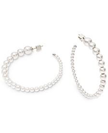 "Silver-Tone Large Pavé & Imitation Pearl Open Hoop Earrings, 2.25"""