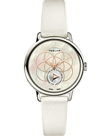 Women's Swiss Seed Of Life White Leather Strap Watch 36mm