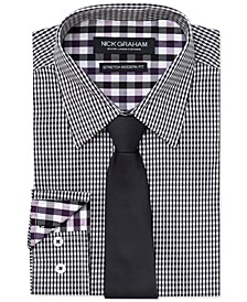 Men's Slim-Fit Stretch Easy-Care Mini Gingham Dress Shirt & Navy Ground Pin Dot Tie Set