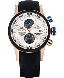 Men's Speedboat Black Silicone Performance Timepiece Watch 46mm