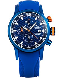 Men's Speedboat Blue Silicone Performance Timepiece Watch 46mm