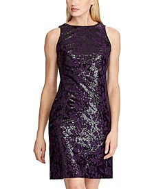 Sequined Embroidered Floral Dress