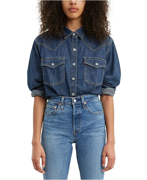 Levi's Penelope Cropped Cotton Denim Shirt