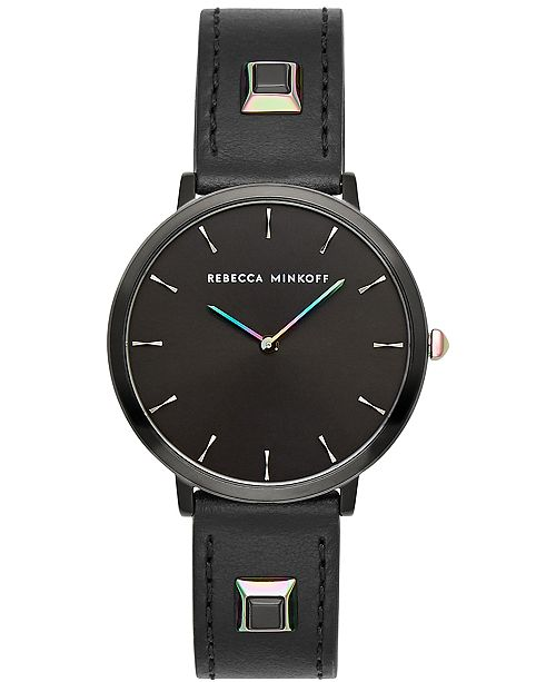 Rebecca Minkoff Women's Major Black Studded Leather Strap Watch 35mm