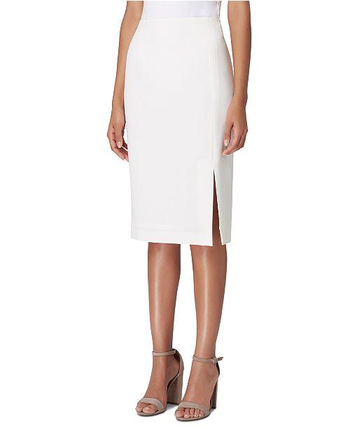 Tahari ASL Petite Front-Slit Crepe Pencil Skirt