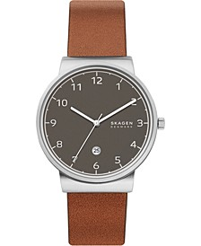 Men's Ancher Brown Leather Strap Watch 40mm