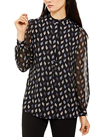 Printed Mesh Blouson Top