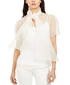 Silk Sheer Tie-Front Top