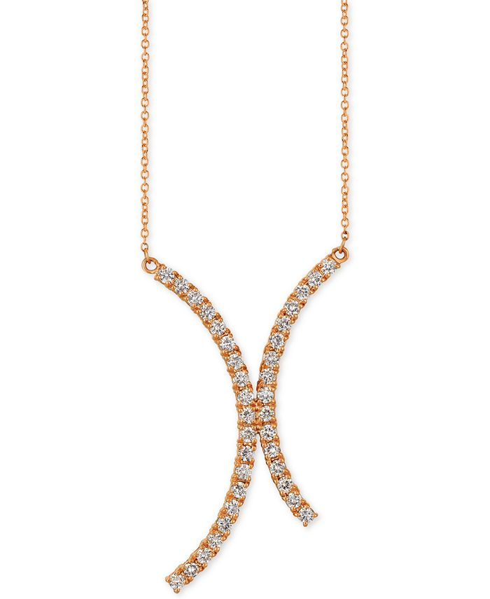 """Le Vian - Nude Diamond Abstract 18"""" Pendant Necklace (7/8 ct.t .w.) in 14k Rose Gold"""