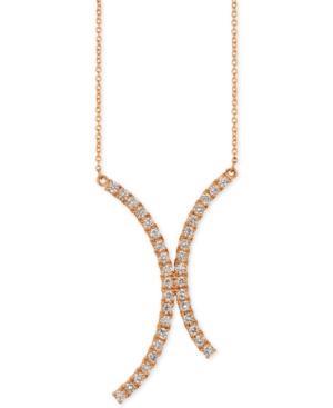 "Vanilla Diamond Curvy 18"" Pendant Necklace (7/8 ct.t.w.) in 14k Rose Gold"