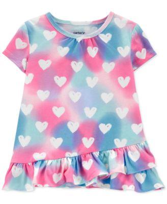 New Carter/'s Girls 2T 3T 4T 5T Unicorn Ruffle Hem Bow Back Top Shirt Pink
