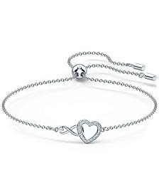 Silver-Tone Crystal Heart & Infinity Symbol Slider Bracelet
