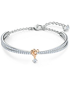 Two-Tone Heart Knot & Crystal Split Bangle Bracelet