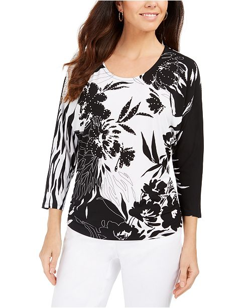 JM Collection Printed Dolman-Sleeve Tunic Top, Created For Macy's