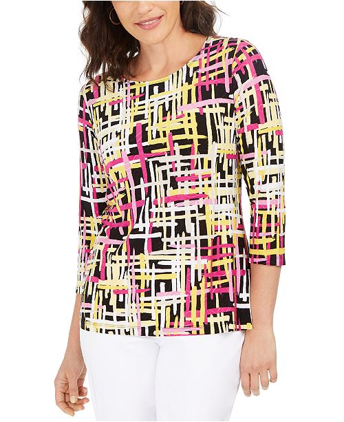JM Collection Printed Jacquard 3/4-Sleeve Top, Created For Macy's