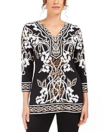 Mixed-Print Rhinestone Tunic Top, Created for Macy's