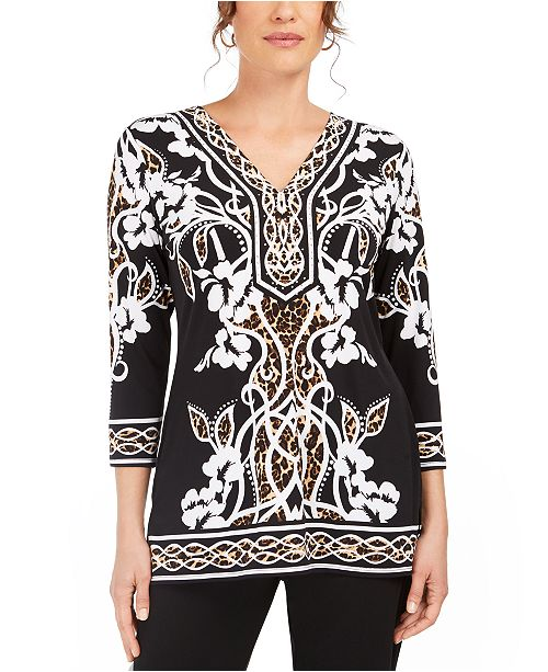 JM Collection Mixed-Print Rhinestone Tunic Top, Created for Macy's
