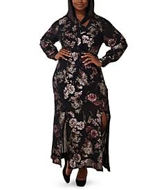 Plus Size Foil Print Mesh Bow-Neck Maxi Dress