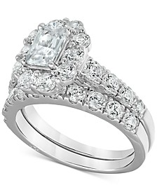 Certified Emerald-Cut Halo Diamond Bridal Set (3 ct. t.w.) in 18k White Gold, Created for Macy's