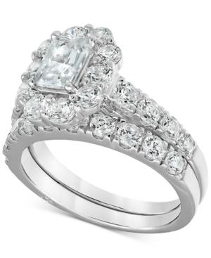 Certified Emerald-Cut Halo Diamond Bridal Set (3 ct. t.w.) in 18k White Gold