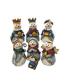 6-inch Resin Snowman Nativity Table piece, 7 pieces