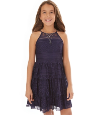 Bcx Big Girls Tiered Lace Necklace Dress