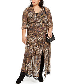 NY Collection Plus Size Leopard-Print Maxi Dress