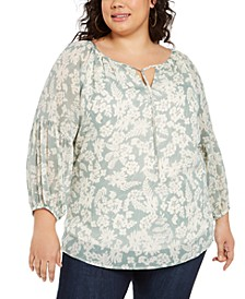 Plus Size Printed Tie-Neck Peasant Top