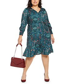 Plus Size Printed Smocked-Sleeve Midi Dress