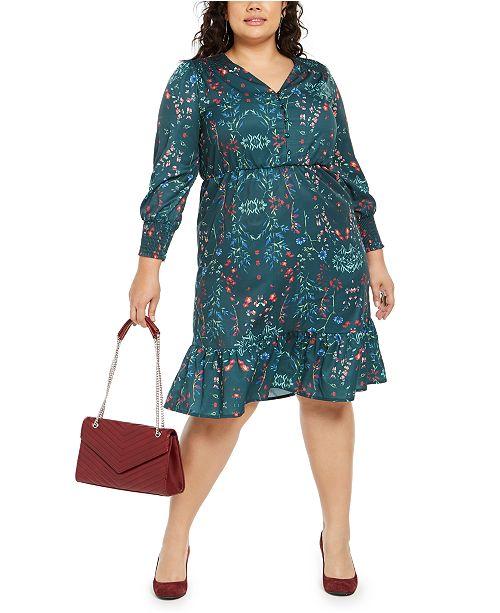 NY Collection Plus Size Printed Smocked-Sleeve Midi Dress