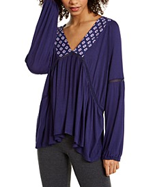 Isabella Jersey Lattice-Lace Sleep Top