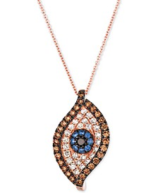 "Blueberry Sapphire (1/6 ct. t.w.) & Diamond (1 ct. t.w.) Evil Eye 18"" Pendant Necklace in 14k Rose Gold"