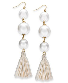 Gold-Tone Imitation Pearl & Tassel Drop Earrings, Created for Macy's