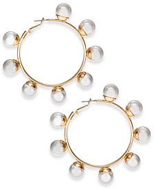 """Gold-Tone Large Imitation Pearl Hoop Earrings, 2.9"""" Created for Macy's"""