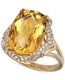 Citrine (8 ct. t.w.) & Diamond (1/3 ct. t.w.) Statement Ring in 14k Gold
