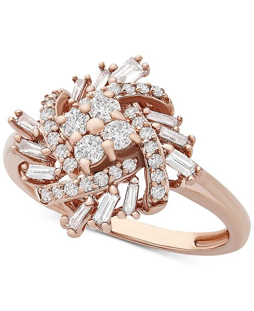 Macy's Diamond Baguette Cluster Statement Ring (1/2 ct. t.w.) in 10k Rose Gold