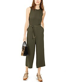Cropped Zip-Shoulder Jumpsuit