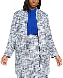 Plus Size Tweed Open-Front Topper Jacket