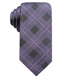 Men's Clemson Slim Plaid Silk Tie, Created For Macy's