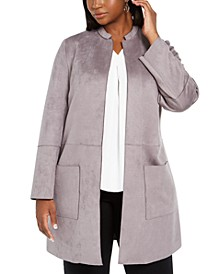 Plus Size Tie-Belted Faux-Suede Scuba Jacket