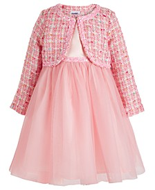Toddler Girls 2-Pc. Tweed Jacket & Embellished Mesh Dress Set