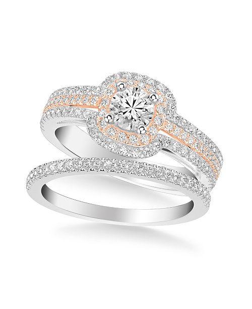 Macy's Diamond Princess Bridal Set (1 ct. t.w.) in 14k Two Tone White & Rose or White & Yellow Gold